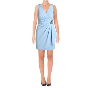 NWT Calvin Klein Faux Wrap Embellished Dress 10